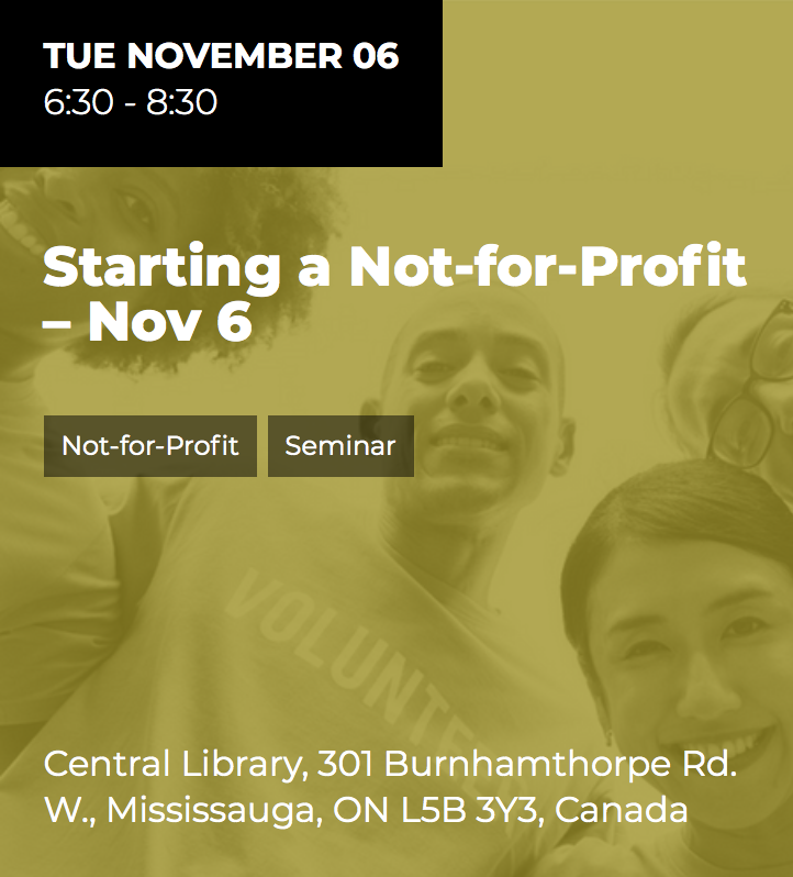 Starting a Not-for-Profit @ Central Public Library | Mississauga | Ontario | Canada