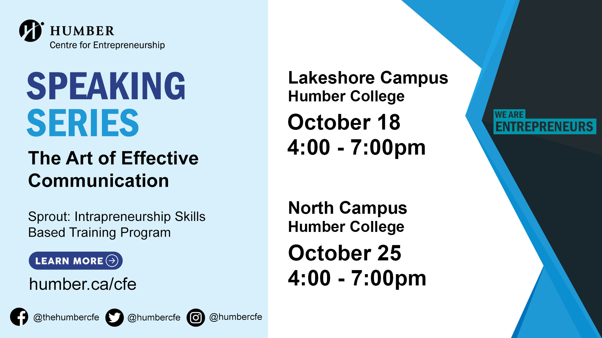 Sprout: Intrapreneurship Skills Based Training Program - Session 1 - Speaking Series: The Art of Effective Communication @ Humber Lakeshore Campus | Toronto | Ontario | Canada