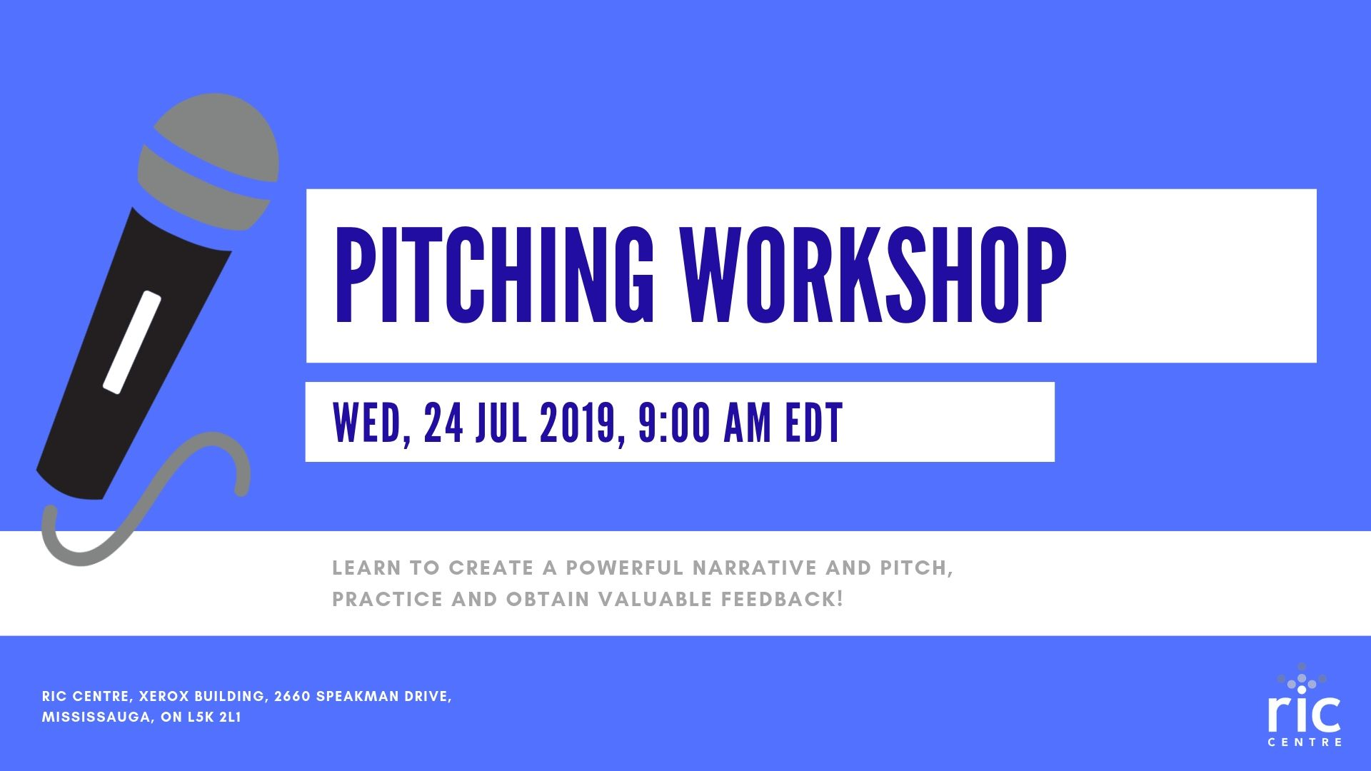 RIC Centre Pitching Workshop @ RIC Centre